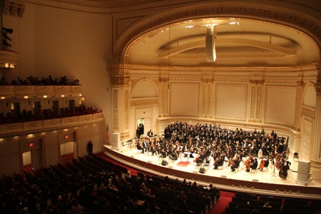 Image of orchestra in Carnegie Hall, NYC, for the USA-Japan Goodwill Concert view from box seats