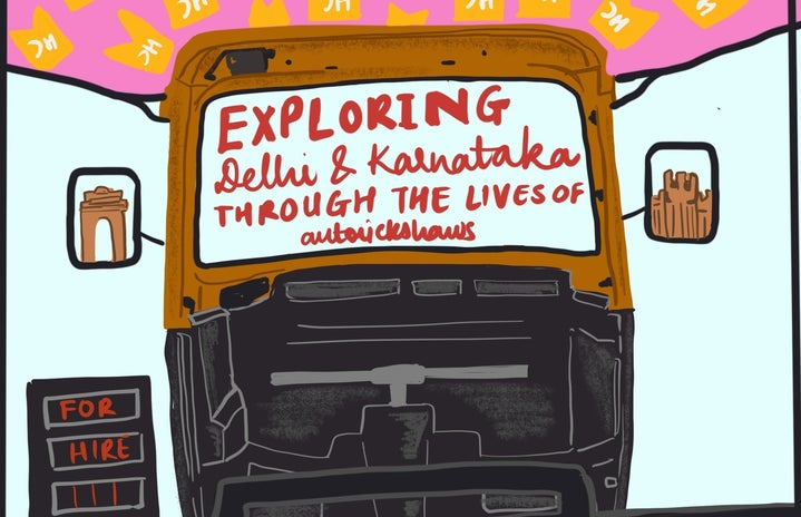 Seld made digital art supporting the article. Has an auto-rickshaw with famous monuments of India