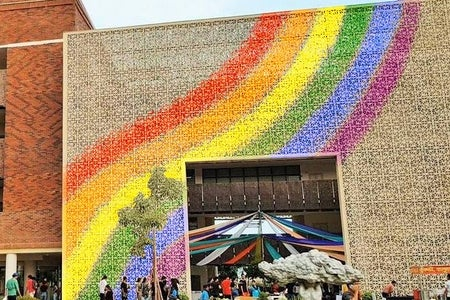 A photo of Ashoka University's campus with the pride flag painted on it