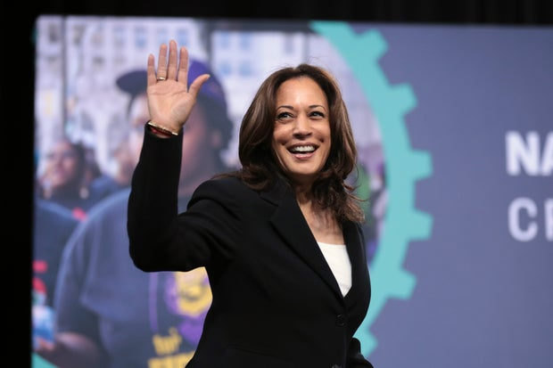 Kamala Harris speaking at an event