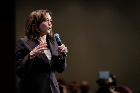 Kamala Harris speaking at the 2019 Iowa Democrats Hall of Fame Celebration