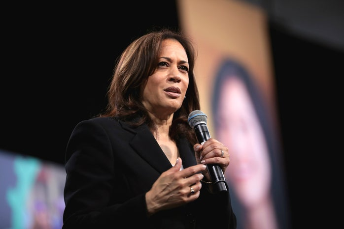kamala harris speaking at an event