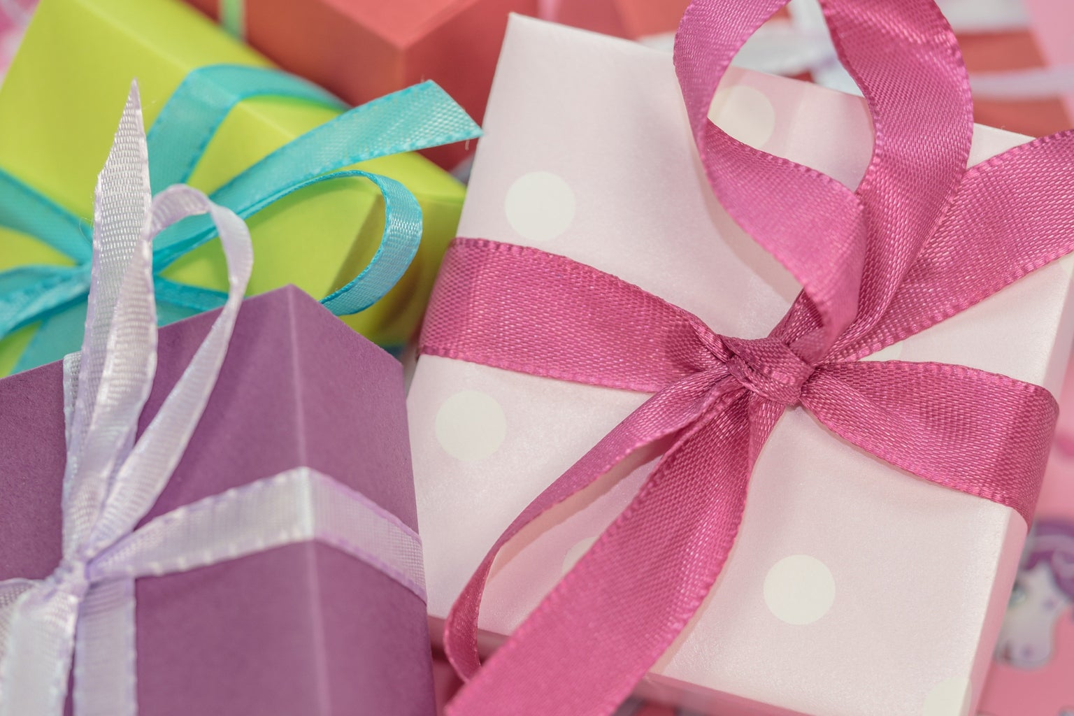 Pile of Multi Colored Gift Boxes