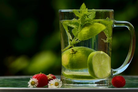 Lime tea in a clear glass