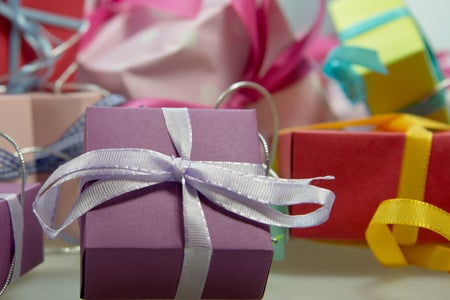 macro shot of assorted wrapped gift boxes