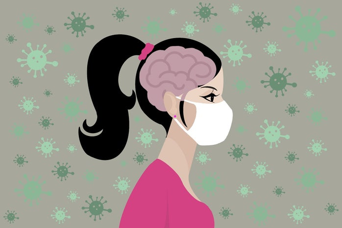 Woman with mask graphic