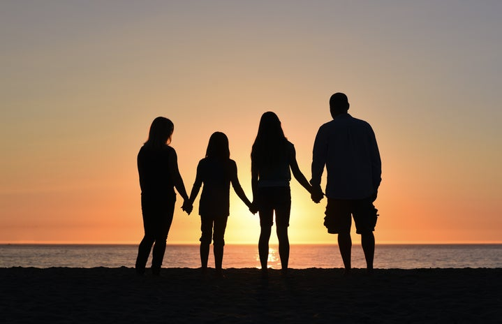 silhouette of four people on seashore