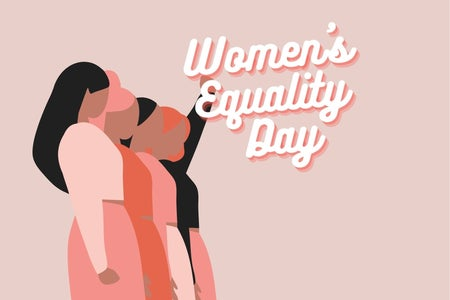 """women standing together and the words """"women's equality day"""""""