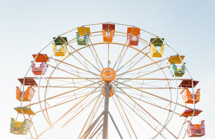 worm\'s eye view of red, orange, and yellow Ferris wheel