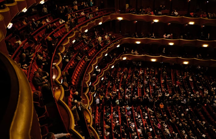 top-down photo of filled theatre seats