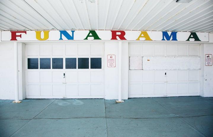 "white red and yellow wall decor \""Funarama\"""