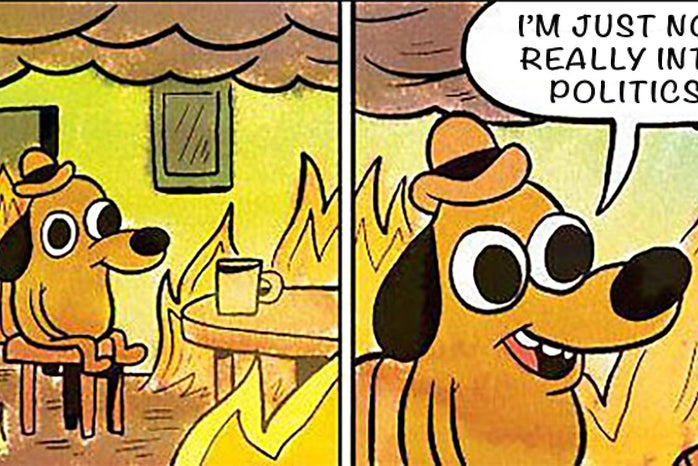 A meme of an animated dog as he sits while everything around him is on fire