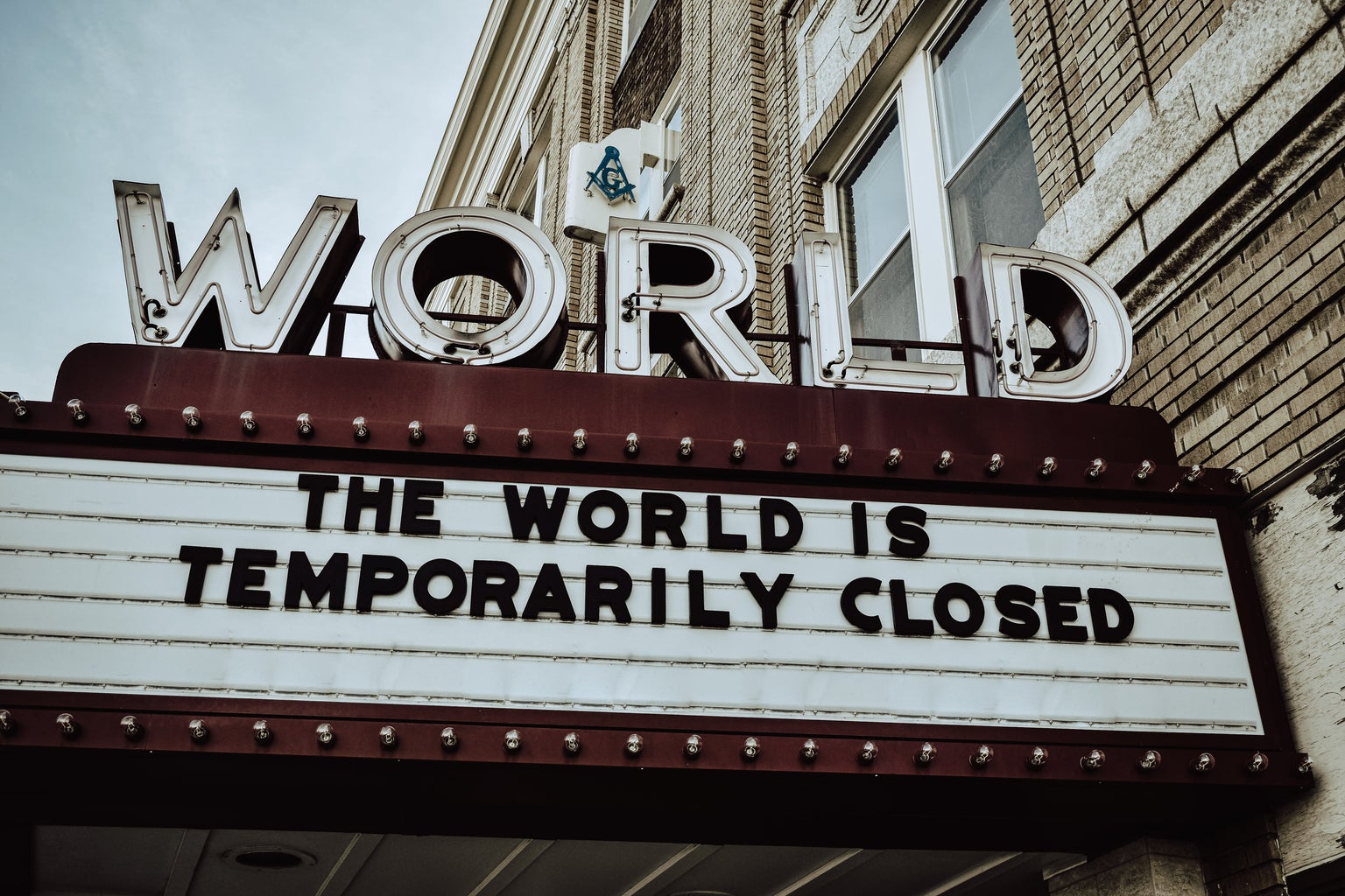 """""""THE WORLD IS TEMPORARILY CLOSED"""" movie sign"""