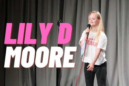 Lily D Moore on stage