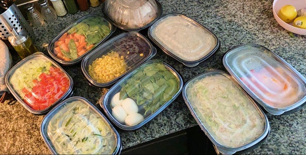 A week's worth of meal prepped food