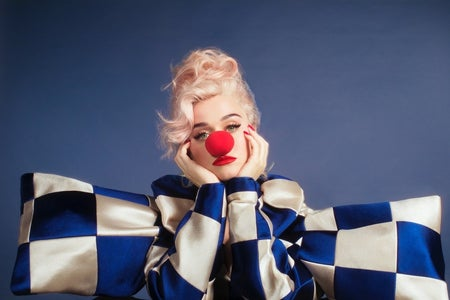 Katy Perry, clown image, album cover for Smile