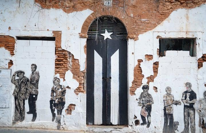 door with painted flag in San Juan, Puerto Rico