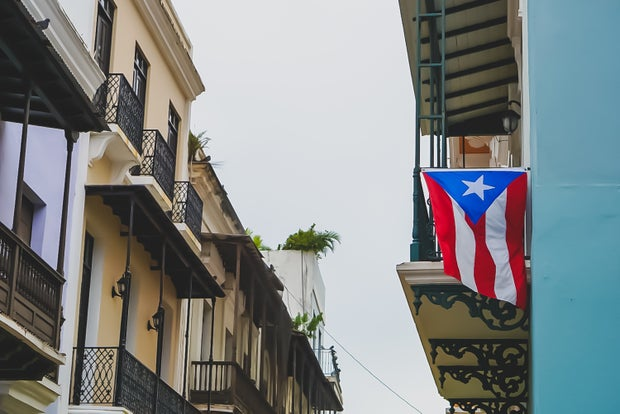 street with Puerto Rican flag