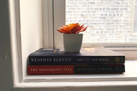 books on a windowsill