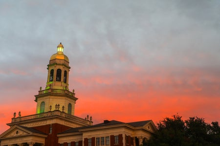 Patt Neff Hall on Baylor Campus with sunset