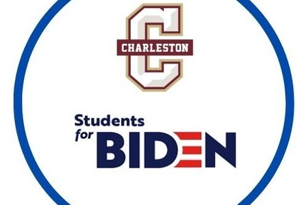 a logo that reads Charleston Students for Biden