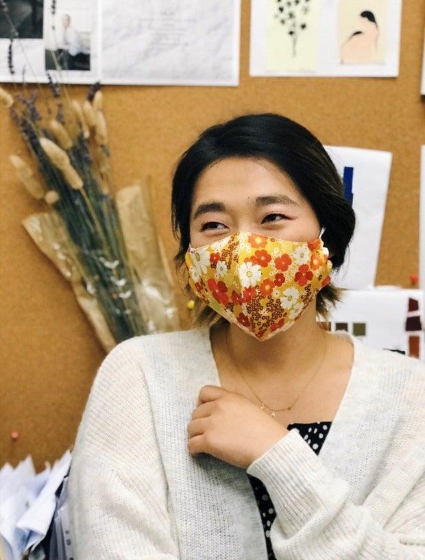 Carol Min wearing Mauby face mask