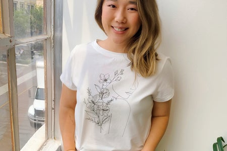 Carol Min wearing MAUBY floral tee