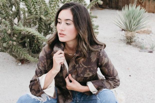 MAUBY model wearing faux suede jacket