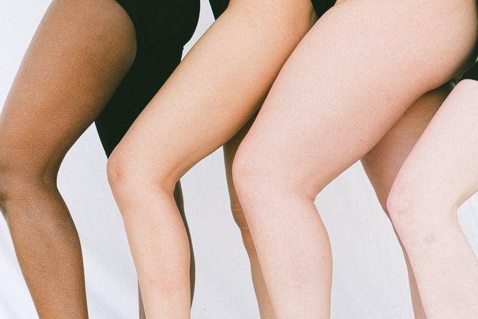 different body types in black leotards