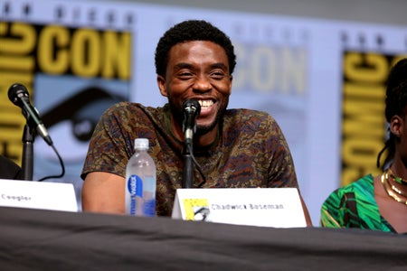 "Chadwick Boseman speaking at the 2017 San Diego Comic Con International, for ""Black Panther"""