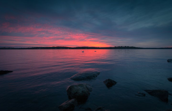 Body of water during a sunset