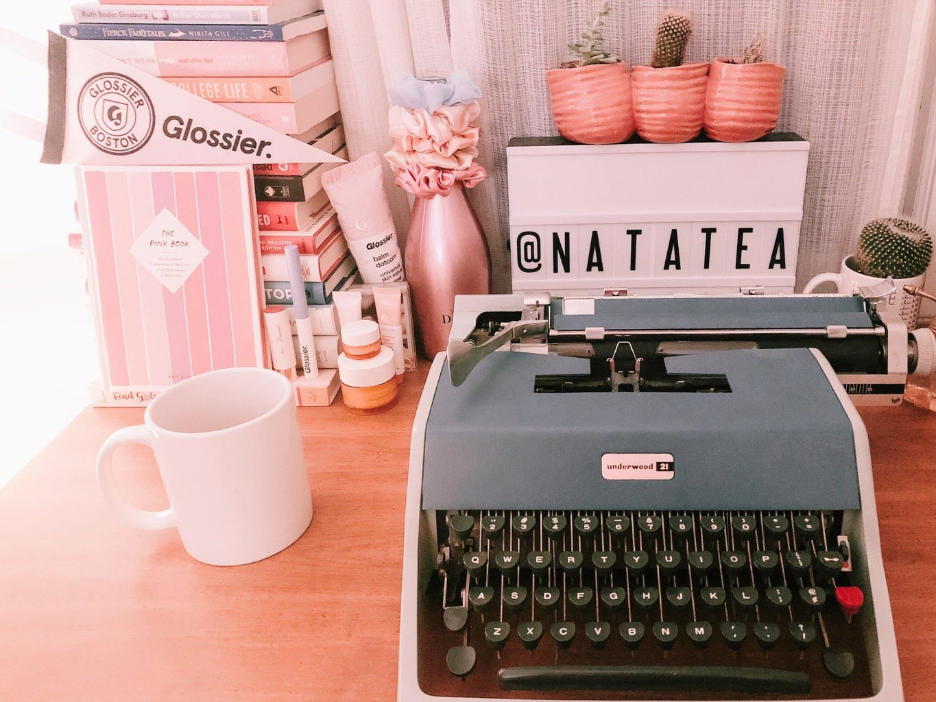 interior design of bedroom and desk with a typewriter