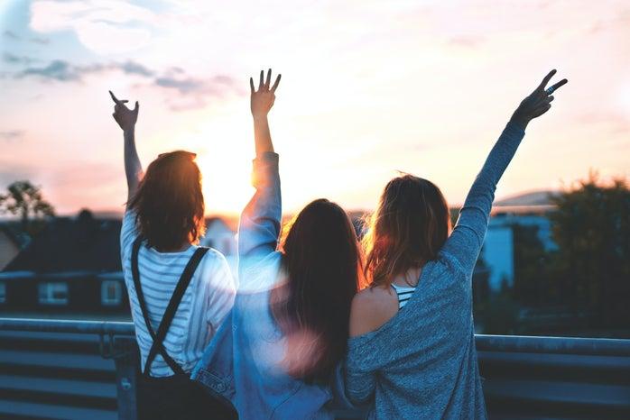 three girls during golden hour