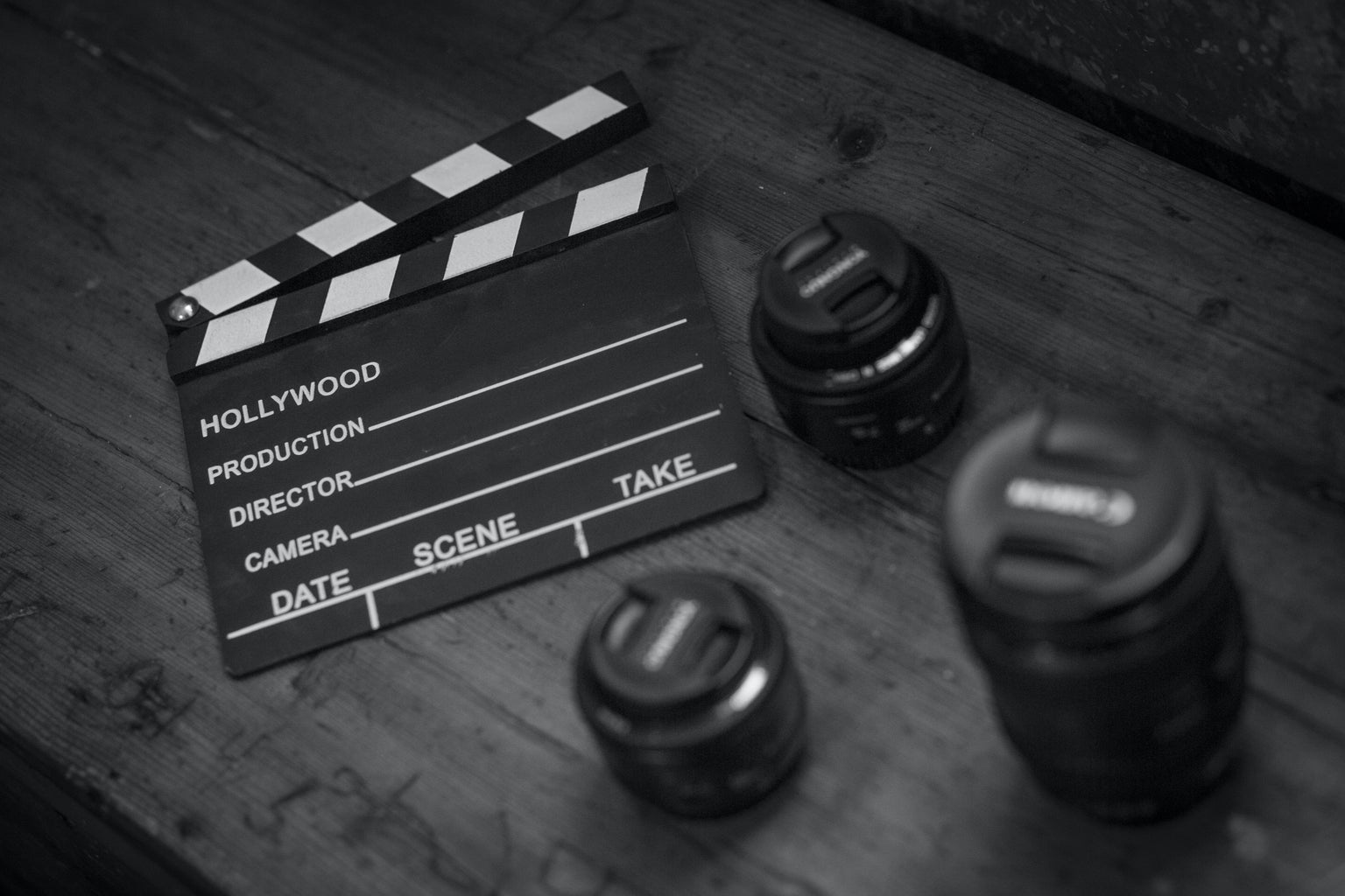 black and white movie clapperboard