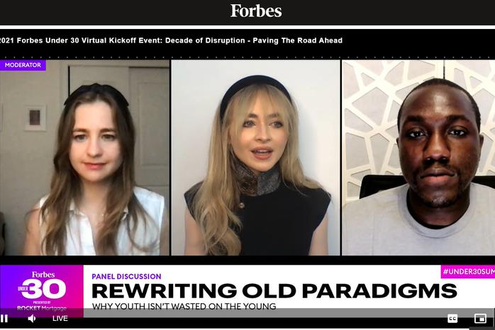 Screenshot of Sabrina Carpenter, Jarrid Tingle, and moderator Madeline Berg at Forbes Under 30: Decade of Disruption Summit