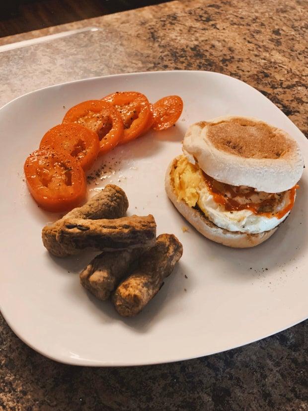 Sriracha Egg Breakfast Sandwich with Turkey Sausage
