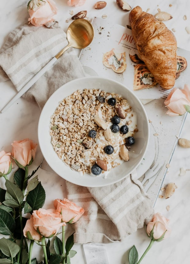 oatmeal with blueberries on beautiful table