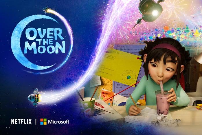 netflix over the moon studying girl