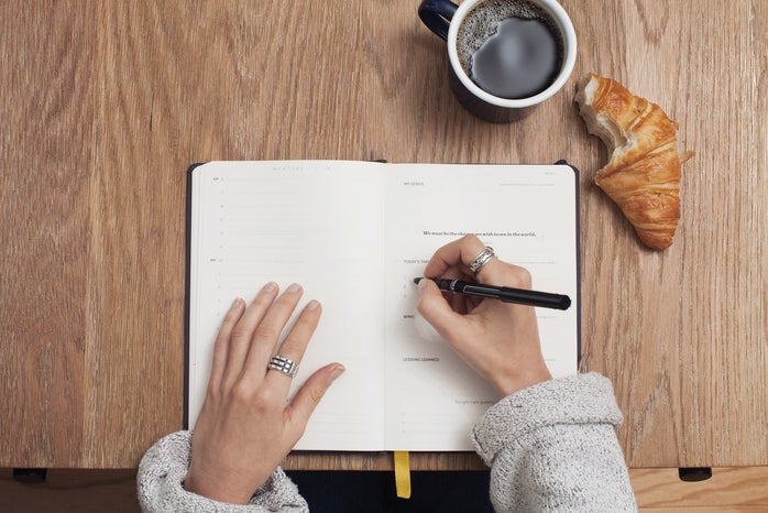 A person writing in a journal on a wooden table with a coffee cup and a croissant