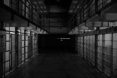 empty prisoner cell, B&W