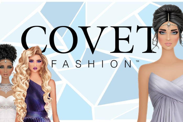 Graphic of three Covet Fashion avatars in front of a backdrop with the Covet Fashion logo in the center.
