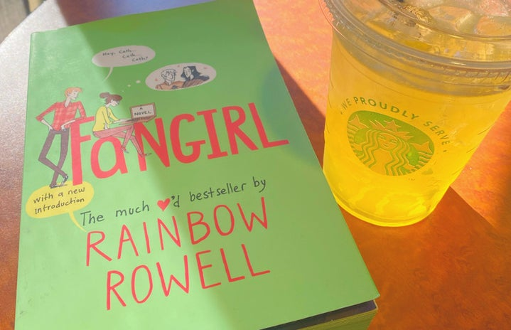 fangirl book and Starbucks drink