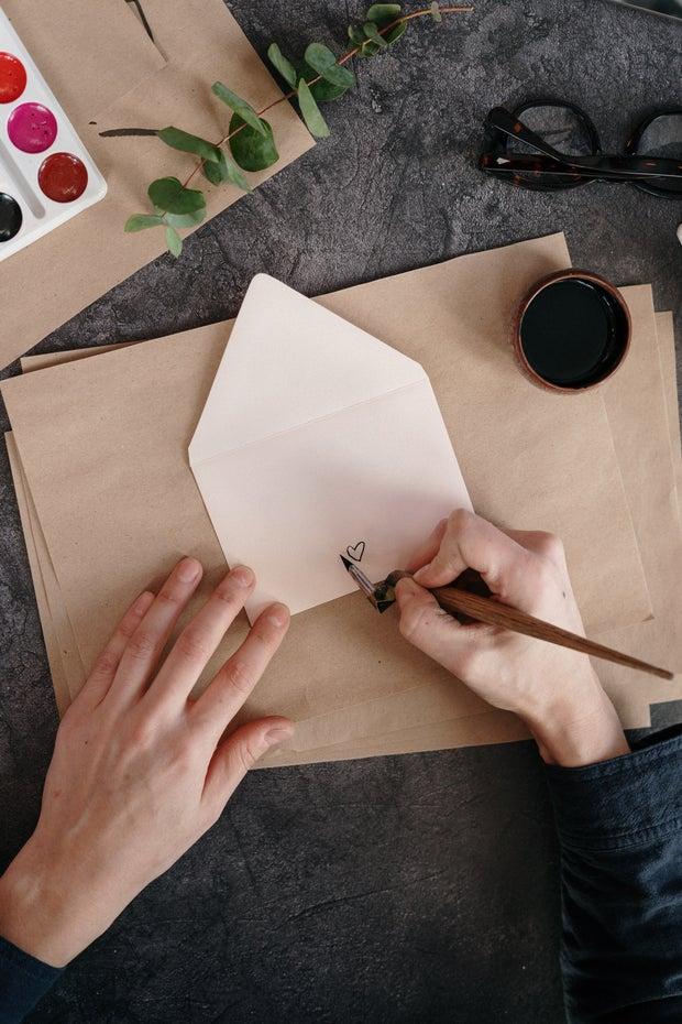 watercolor on envelope