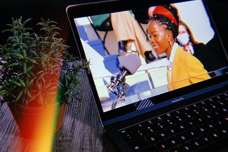 Laptop playing video of Amanda Gorman reading a poem at the 2021 inauguration