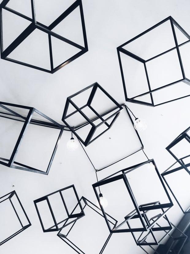 Gray decorative metal cubes