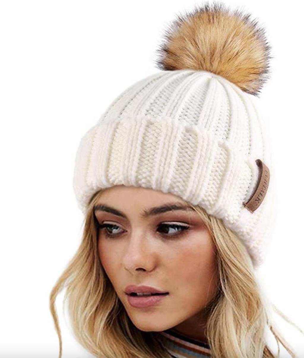 Amazon knit beanie with faux fur pom pom