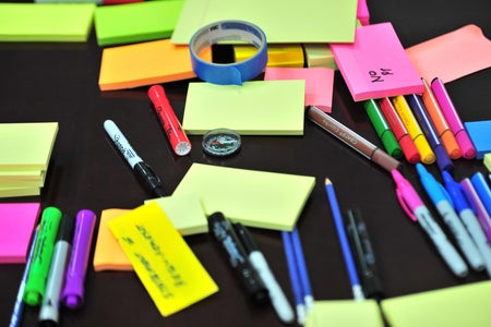 sticky notes and colored pens