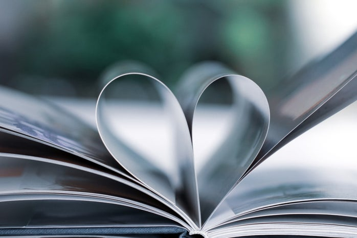 Book pages in shape of heart
