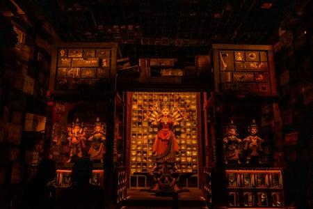 hindu deity in a temple vedika