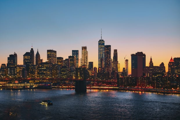 skyline of New York at night